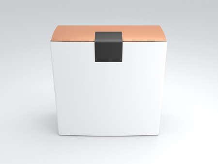 Golden Box packaging with black sticker and white Cover. 3d rendering