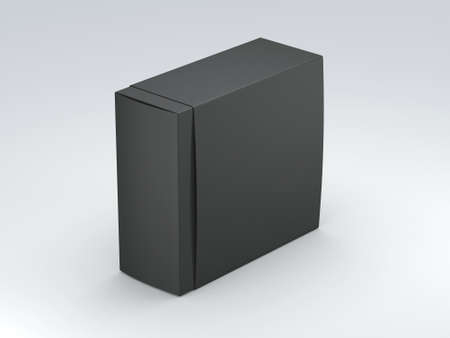 Black Box cardboard packaging with cover on gray background