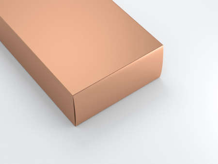 Close up Gold Box on white background. 3d rendering