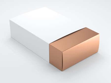 Gold Box with white Cover. 3d rendering
