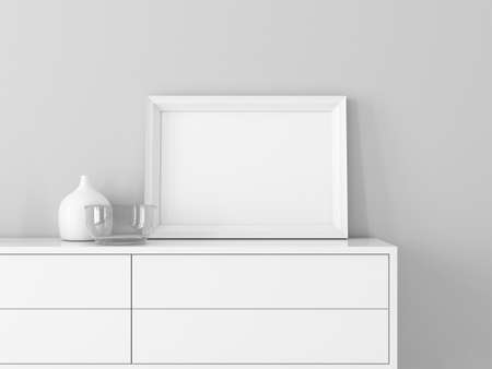 White Horizontal poster Frame Mockup close up on modern commode, 3d rendering