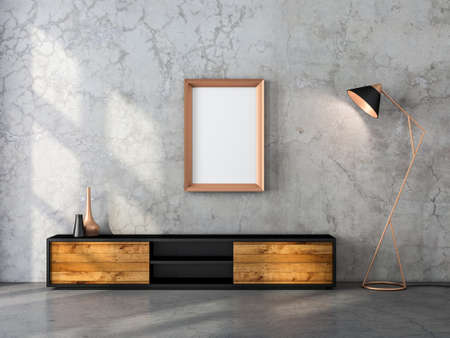 Golden vertical Frame Mockup hanging on the wall with modern floor lamp and wooden tv console, 3d rendering