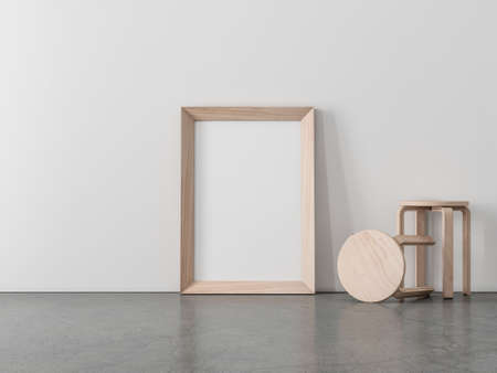 Vertical Wooden Frame Mockup standing on the floor with plywood chairs, 3d rendering 写真素材