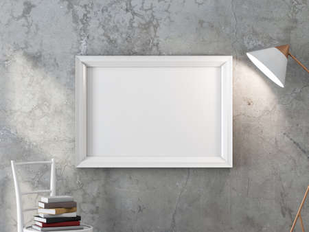 Horizontal White poster frame Mockup hanging on the concrete wall with turned on modern floor lamp 写真素材