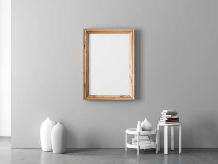 Wooden vertical poster Frame Mockup hanging on gray wall, paste your art work 写真素材
