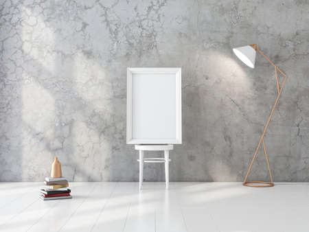 White Frame Mockup standing on wooden chair near wall in room 写真素材