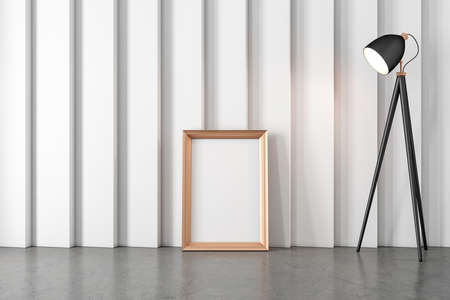 Golden vertical Frame Mockup standing on concrete floor, paste your poster or artwork
