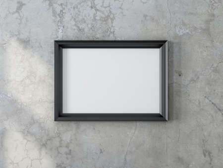 Black horizontal Frame Mockup hanging on the concrete wall, 3d rendering 写真素材