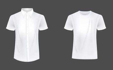 T-shirt and causual short sleeve shirt mockup vector Vetores