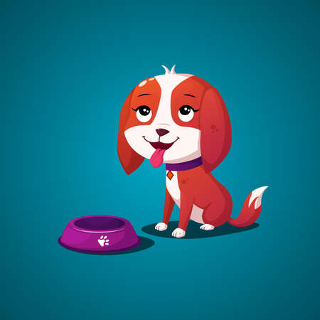 Cute hungry dog puppy waiting for food and sitting next to his dish Premium Vector