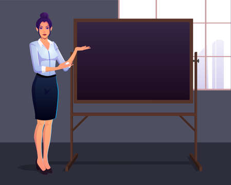Proud elegant business lady presenting on a chalk board Premium Vector