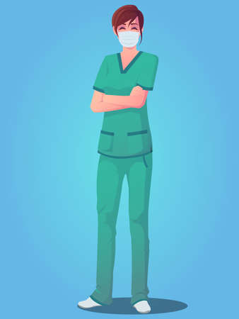 Female medical personnel wearing scrubs, standing with arms folded and wearing a mask Premium Ilustracja