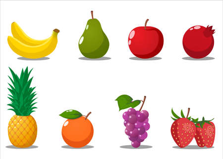 Cartoon Fruits Set. Banana, Pear, Apple, pomegranate, Pineapple, Grapes, Strawberry, Orange. Isolated Vector Illustration.