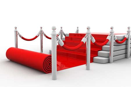 rot: 3D-Bild der roten Teppich auf der Treppe Lizenzfreie Bilder
