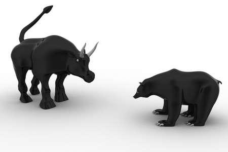 증권 거래소의 황소 곰 동상