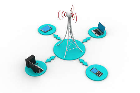 satellite transmitter: Signal tower with networking
