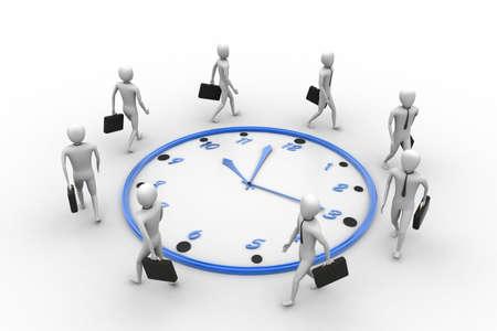 bussiness man: Bussiness man walk around the clock