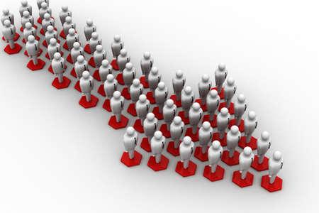 3d people arrange in arrow que