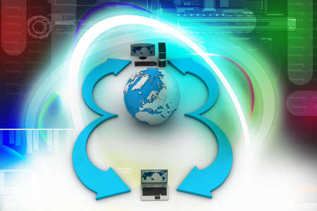 Laptop computers with Earth Globe