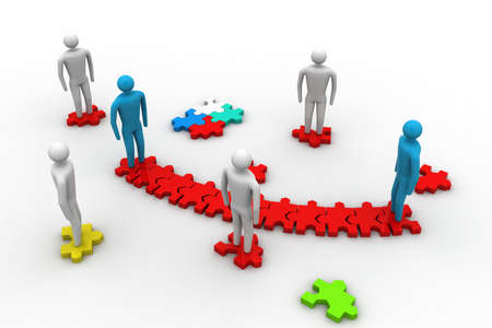 uniting: 3d people on top of puzzle pieces make a puzzle
