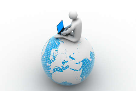man sitting on globe with the Laptop  On Top of the World  photo