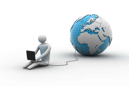 help icon: 3d man sit near the globe with laptop Stock Photo