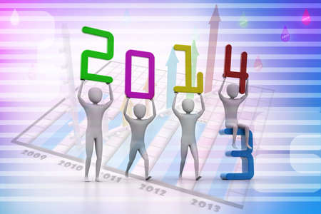 Men holding 2014  Concept 3D illustration  illustration