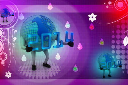 3d New Year 2014 concept with Earth globe                        photo