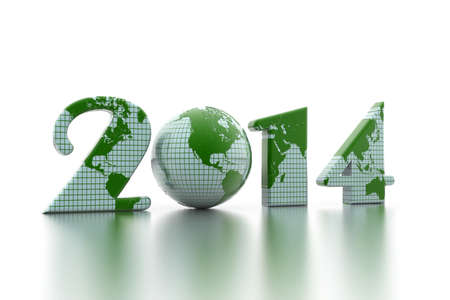 new year 2014 globe on white background