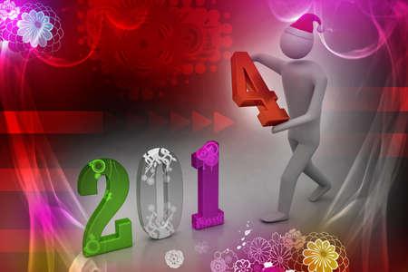 3d illustration of businessman presenting new year 2014 illustration