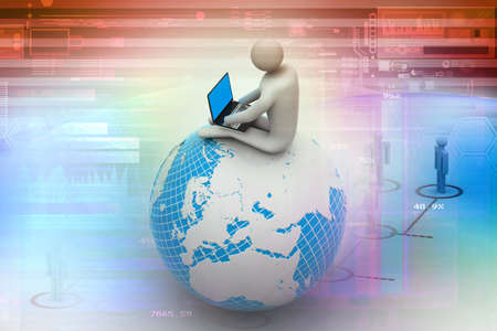 man sitting on globe with the Laptop  On Top of the World  Stock Photo