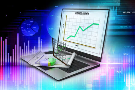 Laptop showing a spreadsheet and a paper with statistic charts