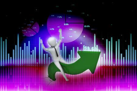 acclaim: Business man sitting a growing arrow Stock Photo