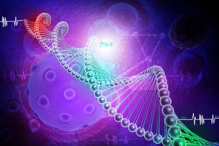 model of twisted DNA chain  and virus Stock Photo