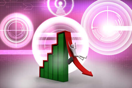 demotion: Business man rolls down the red arrow  3d image