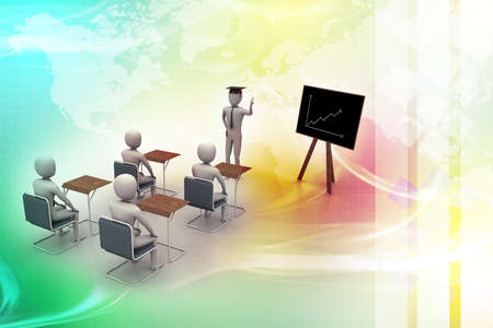 3d people  studying