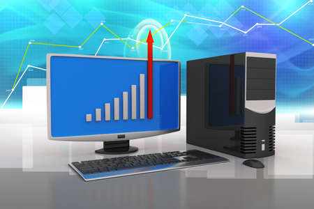 Computer showing a finance graph Stock Photo