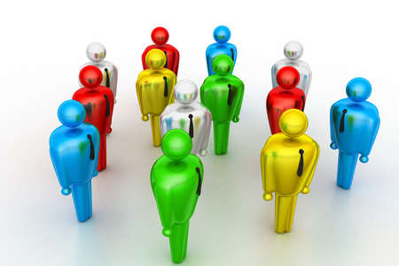 chat up: Group of stylized coloured people