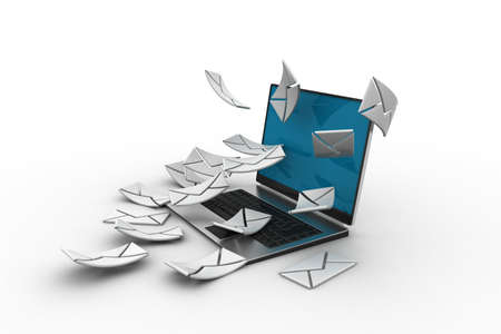 letter e:     E-mail concept  Modern Laptop and envelope
