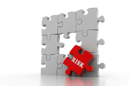Finance concept  Risk on red puzzle piece photo