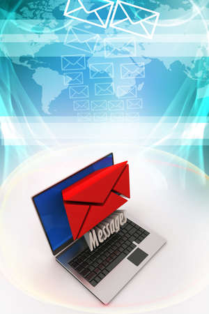 consignor: E-mail concept  Modern Laptop and envelope Stock Photo