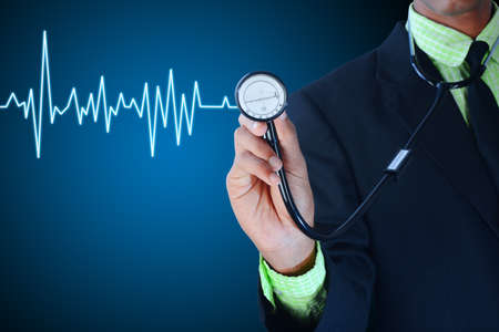 young surgeon holding stethoscope Stock Photo