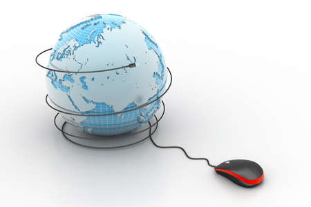 web address: internet 3d concept - computer mouse with globe