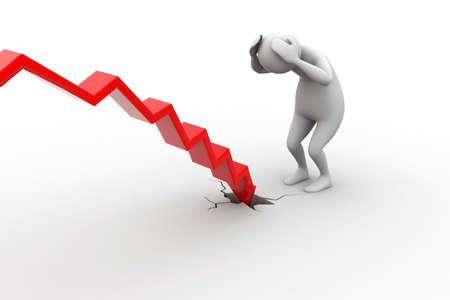 economic depression: Business man in loss