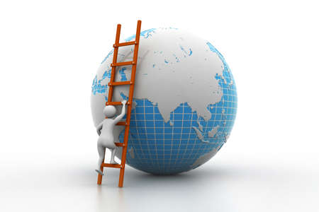 Earth globe and ladder photo