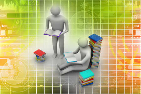 3D people reading book, education concept  Stock Photo