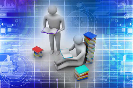 personas leyendo: Gente 3D leyendo el libro, el concepto de educaci�n Foto de archivo
