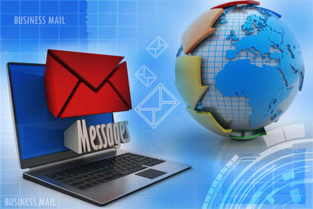 tele communication: E-mail concept  Modern Laptop and envelope Stock Photo