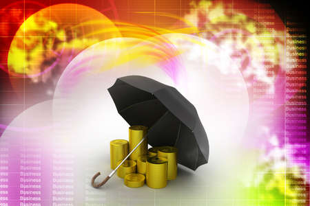 Gold coins under a black umbrella photo