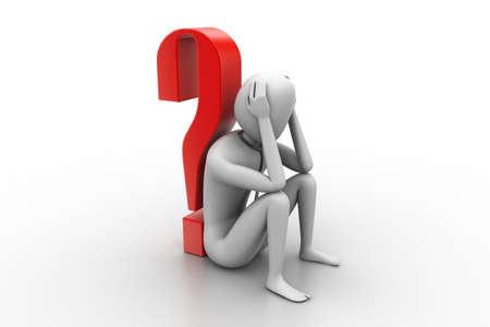 3d man sitting near the question mark photo